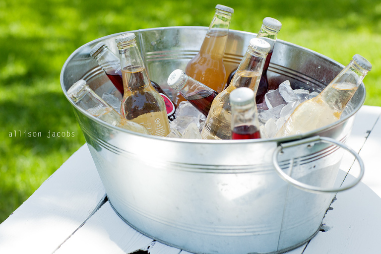 ice cold soda in galvanized bin