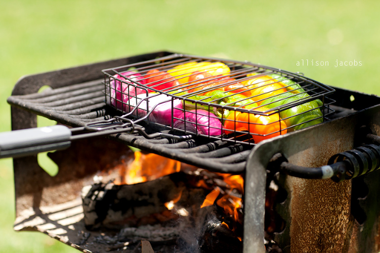 grilling vegetables at the park