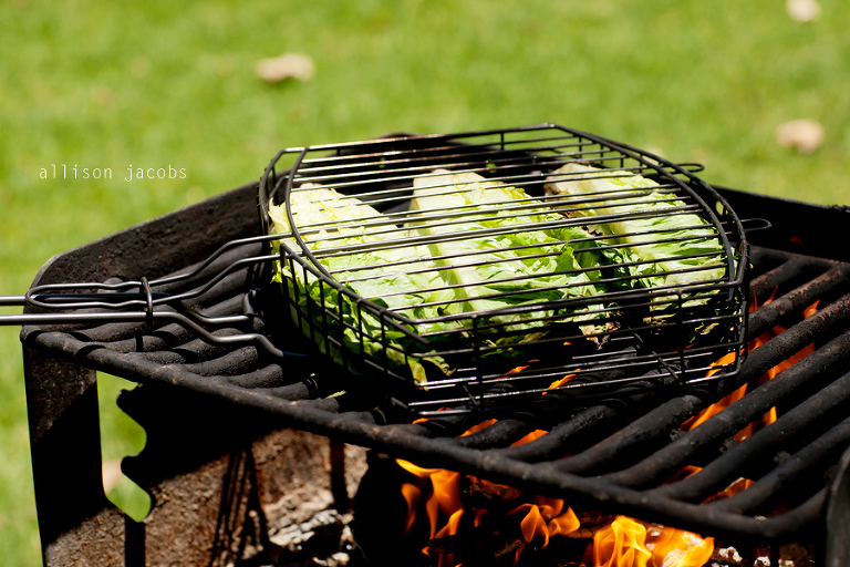 grilling lettuce at the park